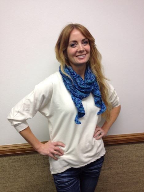 Emily wearing Wave scarf