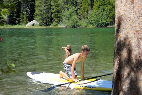 Sweet Baby James on the paddle board at String Lake, Yellowstone