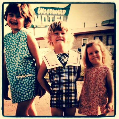 me on the left in a dress mother made, Karie in the middle in a dress our Nannie bought, Danielle on the right in a dress Mother made
