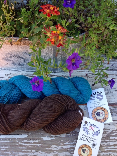 """Tracks - 90% Superwash Merino, 10% Bison down in """"Turquoise"""" and Heaven DK - 100% Bison down yarn in it's natural color """"Earth"""""""