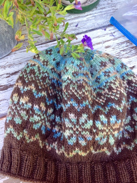"Basque Hat with Koigu Kersti Merino Crepe ""505"" and Heaven DK ""Earth"""