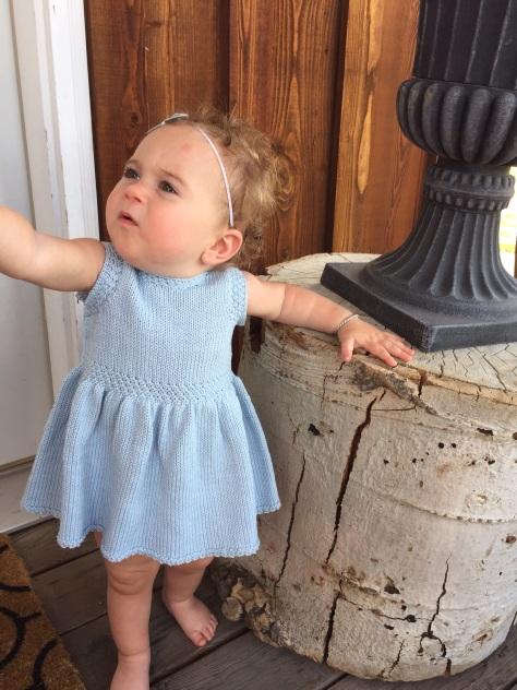Cute Miss Lucy having fun in the Swan Valley Toddler Dress