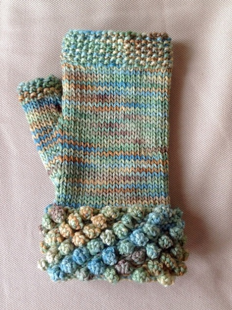 Cardiff-by-the-Sea Fingerless Mitts worked in Koigu Kersti Merino Crepe
