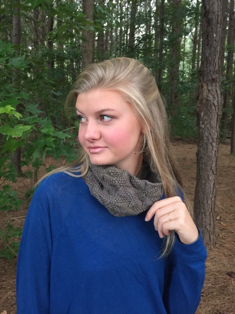 My beautiful niece, Anabelle modeling there Autumn in Peachtree Cowl at her home in Peachtree City, Georgia