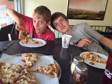 Lunch at Dave's Pizza in Salmon, Idaho. Two thumbs up!