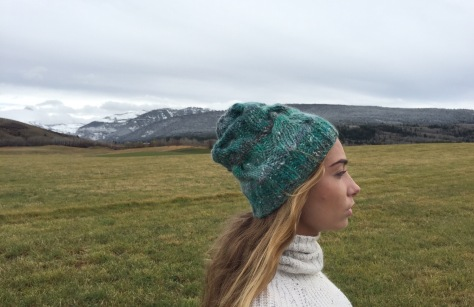 Teewinot Bulky Cable hat knit in Noro Nadeshiko