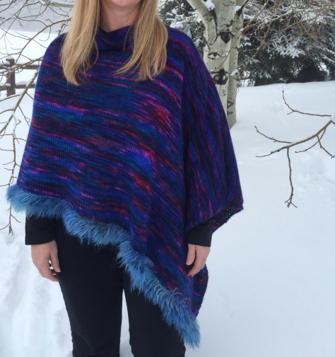 Selway River Poncho - Mountain Goat, 55% mohair 45% wool, Wooly Feathers, 65% mohair 20% nylon 15% wool
